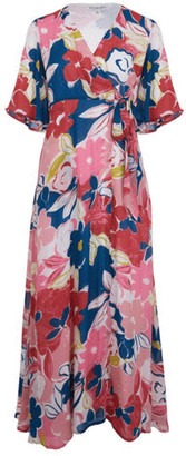 Emily And Fin Chloe Wrap Dress In Pink Ashilah Floral Print - 8