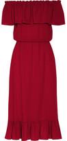 Michael Kors Ruffled Off-the-shoulder Silk-georgette Dress - Crimson
