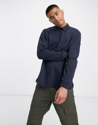 ASOS DESIGN long sleeve rugby jersey polo in navy