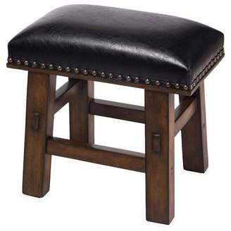 Plow & Hearth Canyon Footstool With Bonded Leather And Nail-Head Trim, Black