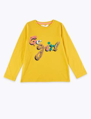 Marks and Spencer Cotton Go Girl Slogan Top (2-7 Years)