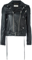 Saint Laurent Bloodluster motorcycle jacket - women - Cotton/Lamb Skin/Polyester/Resin - 36