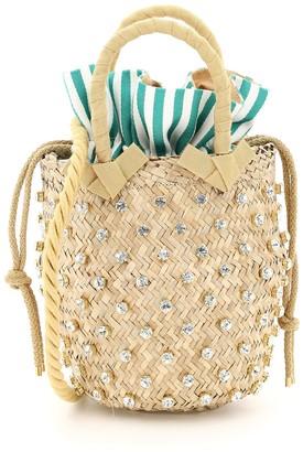Le Nine NINA SMALL BASKET BAG S2-00033 CRYSTAL STRIPE OS Beige, Green, White Cotton