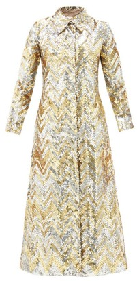 Ashish Single-breasted Zigzag-sequin Georgette Coat - Gold