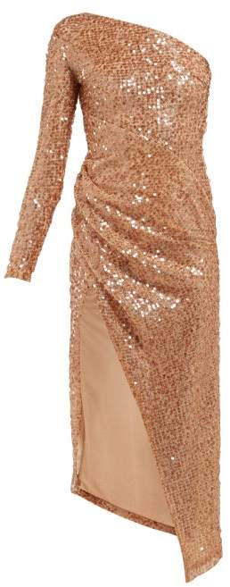 Galvan Mamounia Sequin Embroidered One Shoulder Dress - Womens - Copper