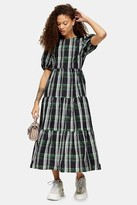 Topshop Womens Petite Green Check Taffeta Maxi Dress - Green