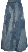 Saint Laurent Patchwork Denim Midi Skirt - Mid denim