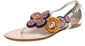 Miu Miu Metallic Silver Leather Glitter Flower Embellished Flat Sandals Size 37.5