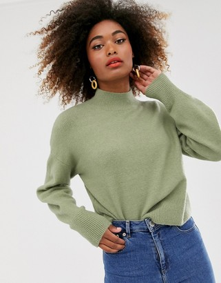 And other stories & high neck sweater in sage green