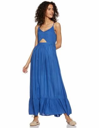 Oasis Wild Beachwear Women's V Neck Spaghetti Strap Cut Out Solid Maxi Dress (Medium