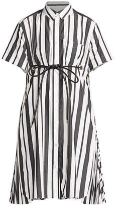 Sacai Striped Poplin Short-Sleeve Shirtdress