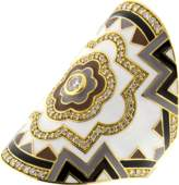 BUDDHA MAMA White Enamel And Diamond Wrap Ring