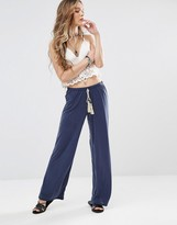 Honey Punch Wide Leg Pants With Tassel Tie Up