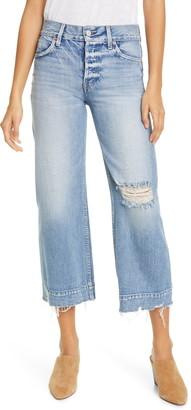 TRAVE Audrey Ripped High Waist Wide Leg Crop Jeans