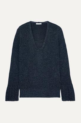 Chloé Metallic Ribbed-knit Sweater - Midnight blue