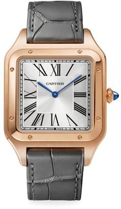 Cartier Santos de Extra-Large 18K Rose Gold & Grey Alligator Strap Watch