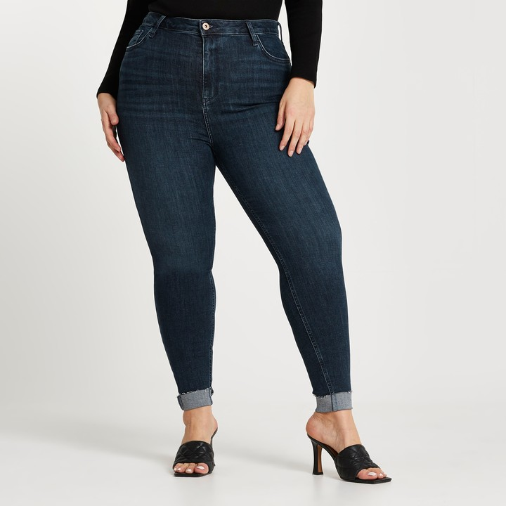 Thumbnail for your product : River Island Womens Plus Dark Blue High Waisted Skinny Jean