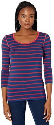 Kickee Pants Long Sleeve Scoop Neck Tee (Everyday Heroes Stripe) Women's Clothing