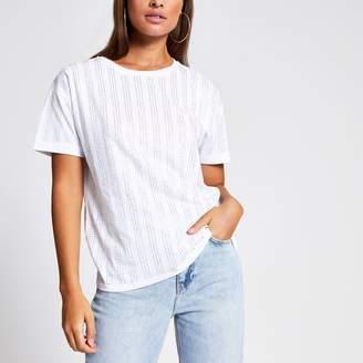 River Island Womens White diamante stripe loose fit T-shirt