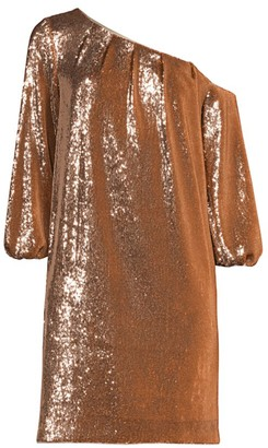 Aidan Mattox Asymmetric Off-the-Shoulder Puff-Sleeve Sequin Shift Dress