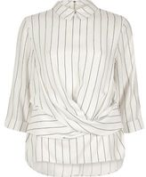 River Island Womens Cream stripe twist front top