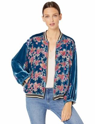 Johnny Was Women's Reversible Silk and Velvet Bomber Jacket