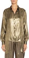 Saint Laurent Lame Bow-Tie Collar Long-Sleeve Button-Down Shirt