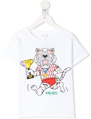 Kenzo Tiger-print cotton T-shirt