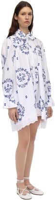 Simone Rocha Delft Embroidered Cotton Frock Shirt