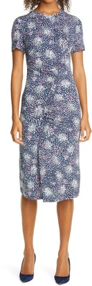 HUGO BOSS Enice Confetti Print Ruched Jersey Dress