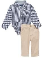 Andy & Evan Shirtzie Gingham Check Bodysuit & Pants Set