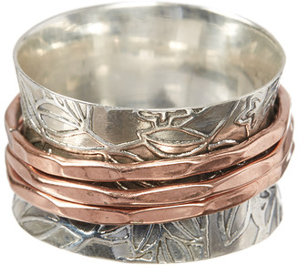 Ys Gems YS Gems Women's Rings Silver - Sterling Silver & Copper Leaf Filigree Ring