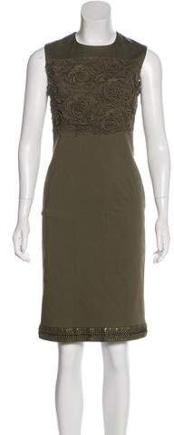 Christian Dior Leather-Trimmed Lace-Accented Dress