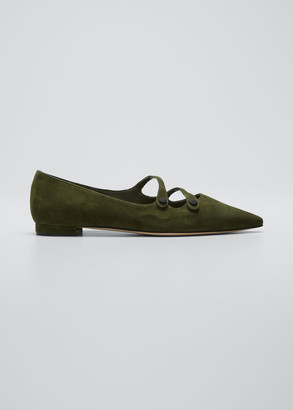 Manolo Blahnik Zehaz Pointed Suede Two-Strap Flats