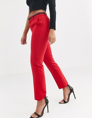 Stradivarius belted tailored trousers in red