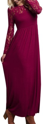 Auxo Women Maxi Dress Round Neck Lace Long Sleeve High Waist Ball Gown Evening Party Long Dresses Cocktail 09-Red L