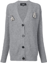 Rochas ribbed V-neck cardigan - women - Virgin Wool - 38