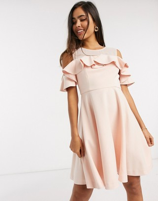 French Connection alissia flare cold shoulder dress in pink