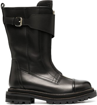 Twin-Set Buckled Strap Mid-Calf Boots