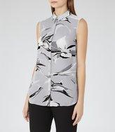 Reiss Bex - Printed Sleeveless Shirt in Black, Womens