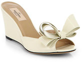 Valentino Couture Patent Leather Bow Wedge Sandals