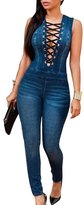 jasmine214 Women's Jumpsuit Sleeveless Bodysuits Boyfriend Denim Romper Zipper Up Jean Tank