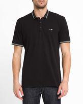 Armani Jeans Black Cotton Piqué Slim-Fit Polo Shirt with White Chest Logo