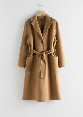 And other stories Wool Blend Belted Long Coat
