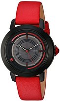 Titan Women's 'HTSE Self Energizing' Quartz Stainless Steel and Leather Automatic Watch, Color:Red (Model: 2525NL02)