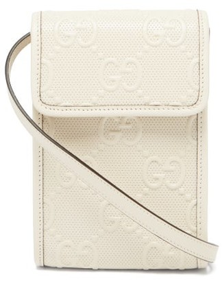 Gucci GG-embossed Leather Cross-body Bag - White