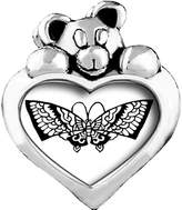 GiftJewelryShop Beautiful Lovely Butterfly White Crystal April Birthstone I Love You Heart Care Bear Charm