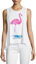 Chaser Watercolor Flamingo Racerback Tank, White