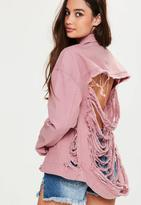 Missguided Pink Shredded Back Denim Jacket, Pink