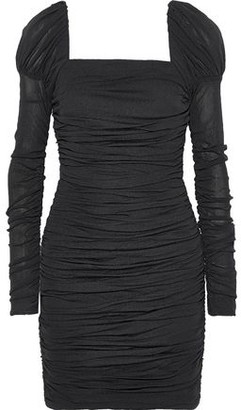 Rebecca Vallance Frenchie Ruched Stretch-mesh Mini Dress
